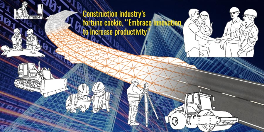 """Construction industry's fortune cookie, """"Embrace innovation to increase productivity"""""""