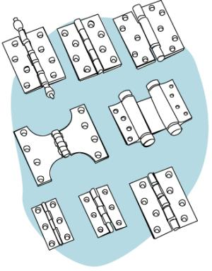 types of hinges. different hinges can be used to offer functionality or levels of security. types