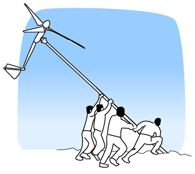 How are wind turbines installed