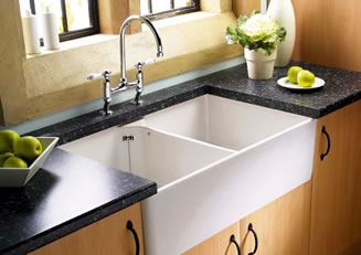 Porcelain or ceramic kitchen sinks